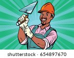 construction worker with trowel