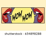 two female mouth shout wow | Shutterstock .eps vector #654898288