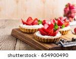 strawberry shortcake pies on... | Shutterstock . vector #654900490