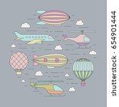 air transportation outline... | Shutterstock .eps vector #654901444