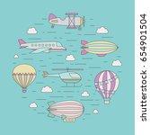 air transportation outline... | Shutterstock .eps vector #654901504