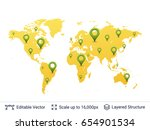 location pins on world map.... | Shutterstock .eps vector #654901534