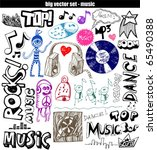 vector set   sketchy music... | Shutterstock .eps vector #65490388