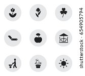set of 9 editable farm icons....