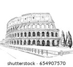 coliseum. rome. italy. hand... | Shutterstock .eps vector #654907570