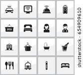 set of 16 editable travel icons.... | Shutterstock .eps vector #654909610