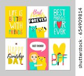 best friends forever. set of... | Shutterstock .eps vector #654909814