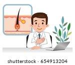 doctor explaining the hair root | Shutterstock .eps vector #654913204