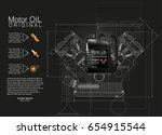 bottle engine oil background ... | Shutterstock .eps vector #654915544