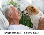 old man resting in garden and... | Shutterstock . vector #654915814