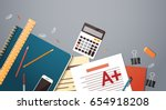 workplace desk documents papers ...   Shutterstock .eps vector #654918208