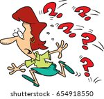 cartoon woman running away from ... | Shutterstock .eps vector #654918550