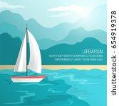 boat on beach vector... | Shutterstock .eps vector #654919378