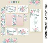 watercolor wedding invitation... | Shutterstock . vector #654924700