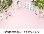 office table desk with computer ... | Shutterstock . vector #654926179