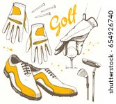 golf set with basket  shoes ...   Shutterstock .eps vector #654926740