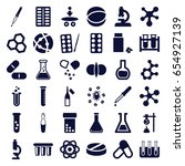 chemistry icons set. set of 36... | Shutterstock .eps vector #654927139