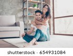 love you  cheerful beautiful... | Shutterstock . vector #654931084