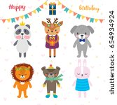 birthday greeting card with... | Shutterstock .eps vector #654934924