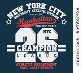 new york manhattan sport wear...   Shutterstock .eps vector #654937426