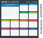 2018 calendar planner   sunday... | Shutterstock .eps vector #654942904