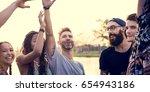 people enjoying live music... | Shutterstock . vector #654943186