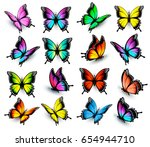 colorful butterflies set.... | Shutterstock .eps vector #654944710