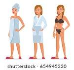 woman after bathroom wear towel ...   Shutterstock .eps vector #654945220