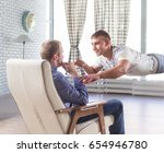 interview with flying man | Shutterstock . vector #654946780