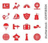 Travel Icons Set. Set Of 16...