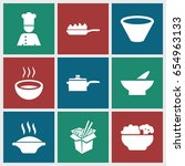 soup icons set. set of 9 soup... | Shutterstock .eps vector #654963133