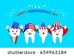 cute cartoon tooth with... | Shutterstock .eps vector #654963184