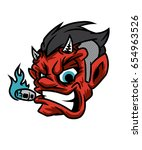 devil smoking   vector... | Shutterstock .eps vector #654963526
