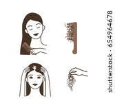 hair loss woman. vector... | Shutterstock .eps vector #654964678