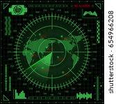 abstract digital radar screen... | Shutterstock .eps vector #654966208