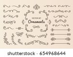 set collection of vintage... | Shutterstock .eps vector #654968644