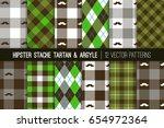 hipster mustache tartan plaid... | Shutterstock .eps vector #654972364