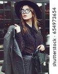 outdoor waist up portrait of... | Shutterstock . vector #654973654