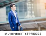 business man holding bag and... | Shutterstock . vector #654980338