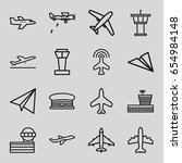 plane icons set. set of 16... | Shutterstock .eps vector #654984148