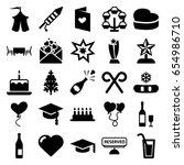 Celebration Icons Set. Set Of...