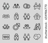 couple icons set. set of 16... | Shutterstock .eps vector #654986770