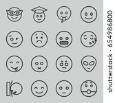 emoticon icons set. set of 16... | Shutterstock .eps vector #654986800