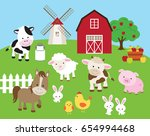 Stock vector vector illustration of farm animals such as cow horse pig sheep chicken bull rabbit with barn 654994468