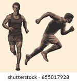 runner. design set. hand drawn... | Shutterstock .eps vector #655017928