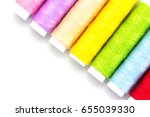 colorful yarns spool isolated... | Shutterstock . vector #655039330