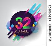 32nd years anniversary logo... | Shutterstock .eps vector #655040926