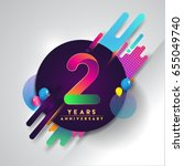2nd years anniversary logo with ... | Shutterstock .eps vector #655049740