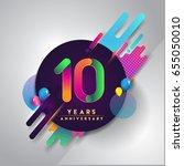 10th years anniversary logo... | Shutterstock .eps vector #655050010