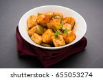 chilli paneer or spicy cottage... | Shutterstock . vector #655053274